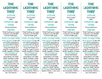 The Lightning Thief edition of Bookmarks Plus—A Handy Litt