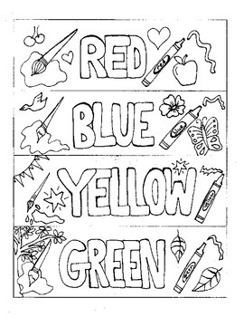 Bookmarks to Color:  Colors (red, blue, yellow, green)