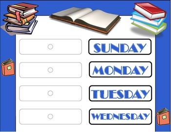 Books Weekday Chart! Reading Bulletin Board! Reading Theme