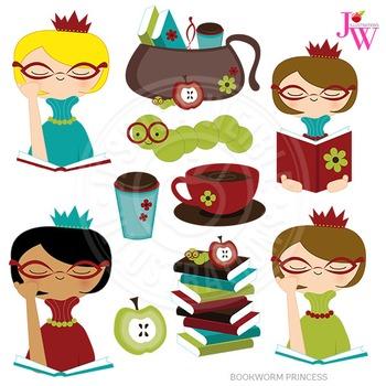 Bookworm Princess Cute Digital Clipart, Reading Graphics