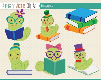 Bookworms Clip Art - color and outlines
