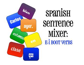 Spanish E-I Boot Verb Sentence Mixer
