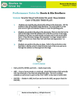 Boots and His Brothers Performance Notes and Poster