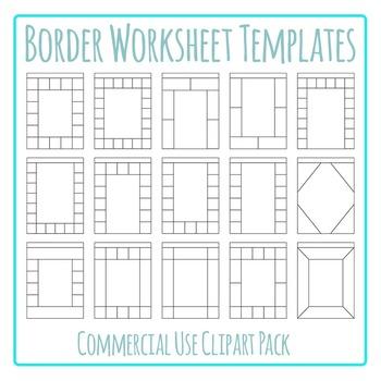 Border Worksheet Templates / Layouts Clip Art Pack for Com