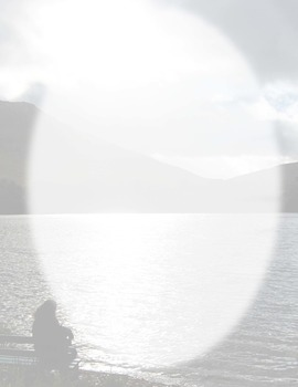 Border-oval silhouette sitting by lake