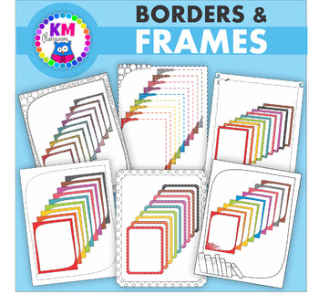 Borders in Rainbow Colors - Clip Art
