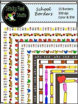 Borders - School Theme - Color & BW