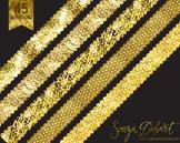 Clip Art: Borders - Set of 45 Gold Foil Glitter Polkadot R