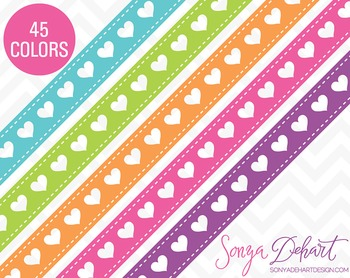 Borders - Set of 45 HeartRibbons Clipart