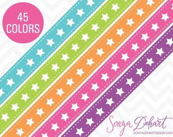 Borders - Set of 45 Star Ribbons Clipart