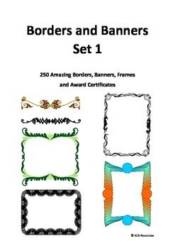 Borders and Banners Set 1 - 250 Borders, Banners, Frames,