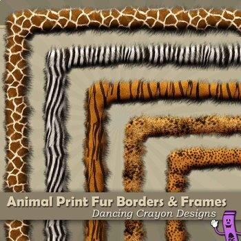 Borders and Frames: Animal Print Fur Effect Borders and Fr