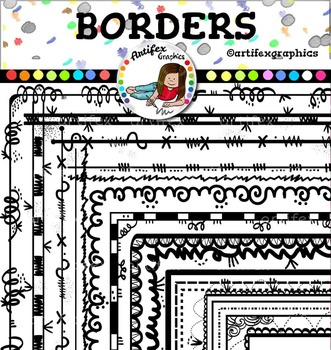 Borders clip art.  Color and B&W