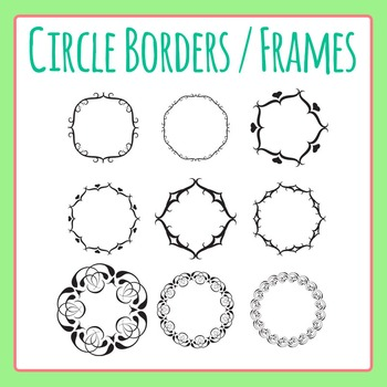 Borders or Frames in Circular Shape Clip Art Set for Comme