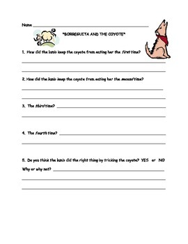 Borreguita and the Coyote Comprehension, Word Work and Assessment