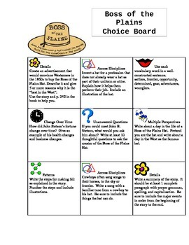 Boss of the Plains Differentiated Choice Board