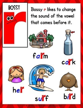 Bossy 'R' Poster (r Controlled Vowels)