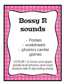 Bossy R (ir, ur, er, ar, or) Phonics, posters, worksheets,