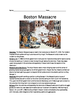 Boston Massacre - Full History Review Article Questions Vo