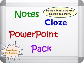 Boston Massacre and Boston Tea Party Pack (PPT, DOC, PDF)