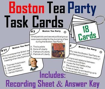 Boston Tea Party Task Cards (American Revolution Unit)