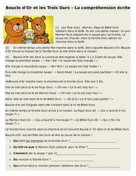 Boucle d'Or et Les Trois Ours - Comprehension Ecrite in Ba