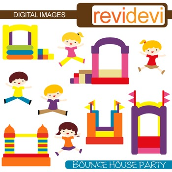 Bounce House Party Clip Art (kids, boys and girls jumping,