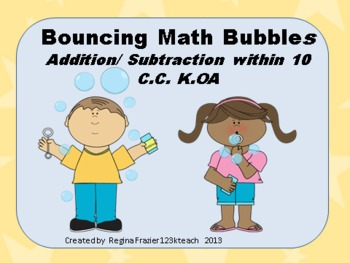 Bouncing Math Bubbles Addition/ Subtraction within 10 Comm