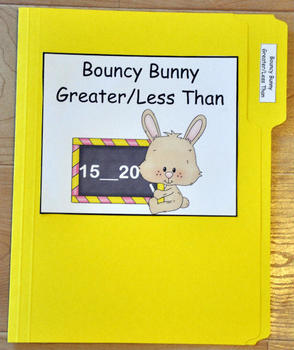 """File Folder Game--""""Bouncy Bunny Greater Than/Less Than"""""""