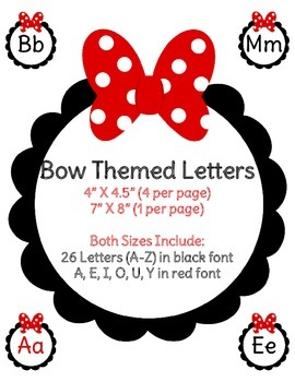 Bow Themed Alphabet - Word Wall Letters