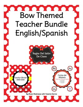 Bow Themed Back to School Spanish Teacher Bundle FREE UPDA