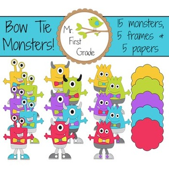 Bow Tie Monsters - Clipart for commercial use