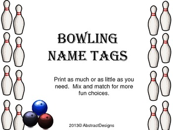Bowling Name Tags