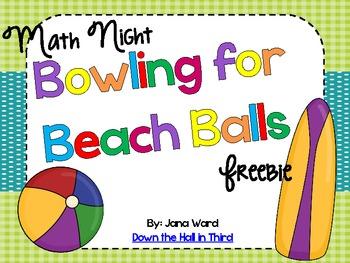 Bowling for Beach Balls Math Fact Freebie