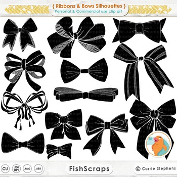 Bows and Ribbons Silhouettes, Bow Tie Digital Stamps, Birt