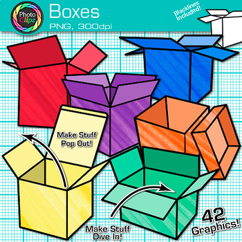 Box Clip Art {Rainbow Shipping and Moving Packages for Tea