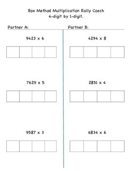 Box Method Multiplication 4x1 and 2x2 - Rally Coach - Coop