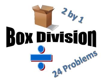 Box Method division 2 by 1 - 24 Problems - No Remainders