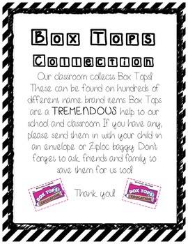 Box Tops Parent Letter Home