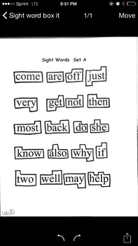 Box it sight words