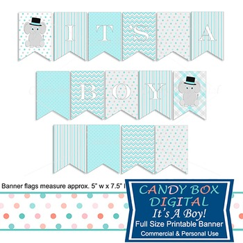 Boy Baby Elephant Printable Shower Party Banner