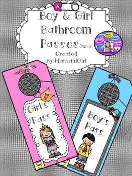 Boy Girl Bathroom Pass Passes Pink & Blue Door Hangers SO