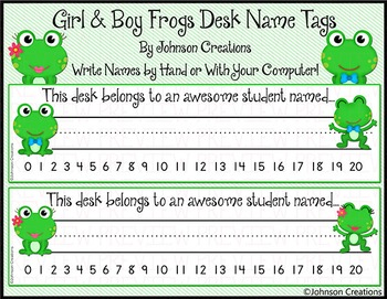 Boy & Girl Frogs Desk Name Tags