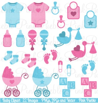 Boy and Girl Baby Items Clip Art  - Commercial and Personal