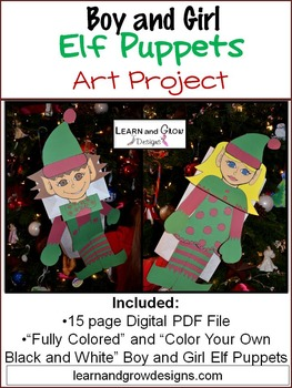 Boy and Girl Elf Puppet Art Project Color Your Own and Ful