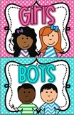 Boy and Girl  Restroom Signs BRIGHT polka Dot