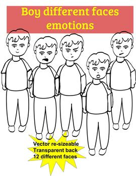 Boy faces social emotional facial expressions 12 different styles