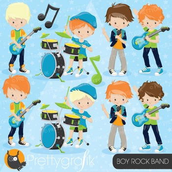 Boy rock band clipart commercial use, vector graphics, dig