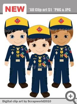 Boy scout wolf uniform clip art 3png SALE 70%