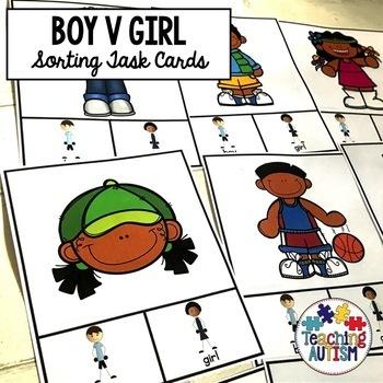 Boy v Girl Sorting Categories Task Cards